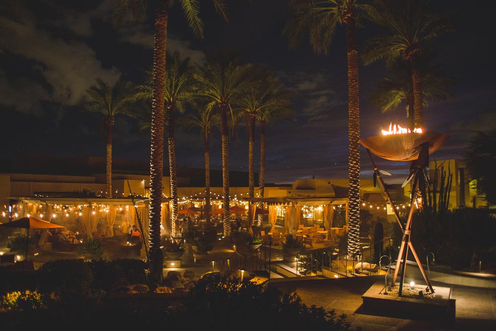 jw marriott camelback inn wedding grounds wide shot at night