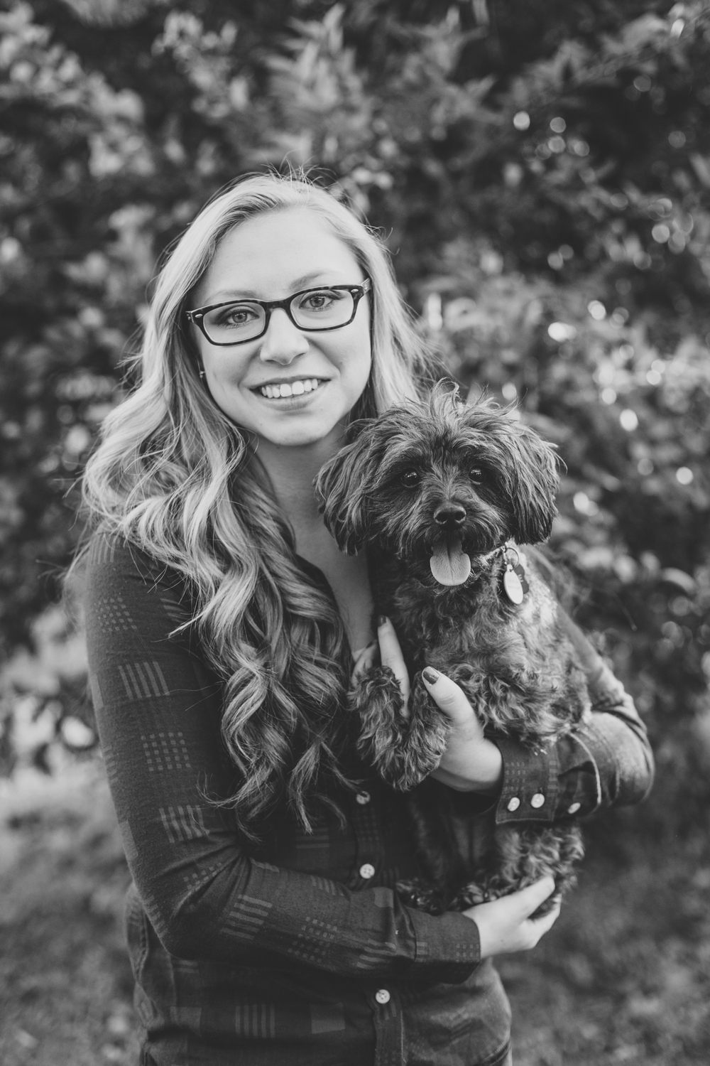 desirae and dog bw