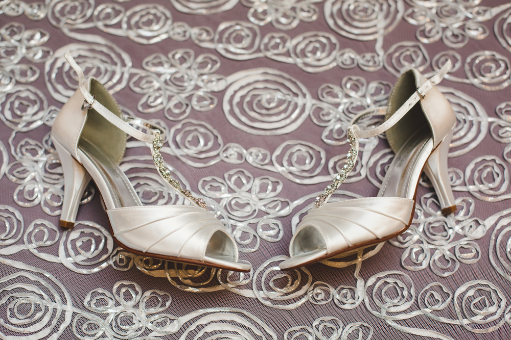 elegant wedding shoes detail shot mj