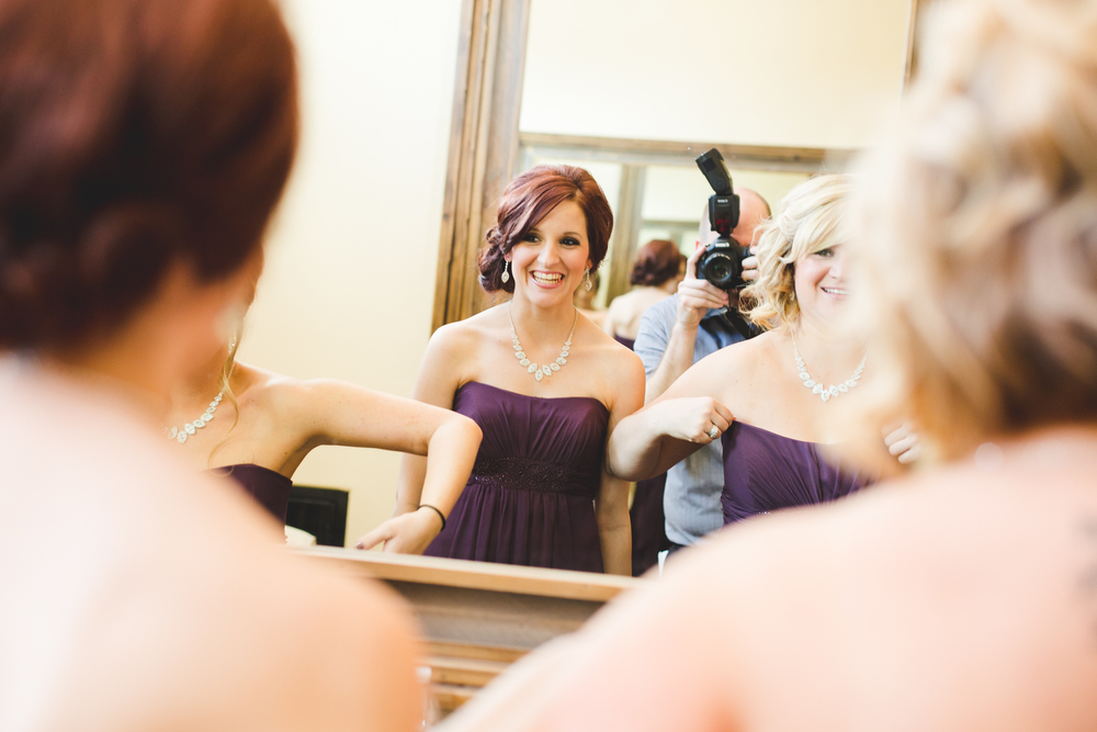 bridesmaid laughing getting ready mj