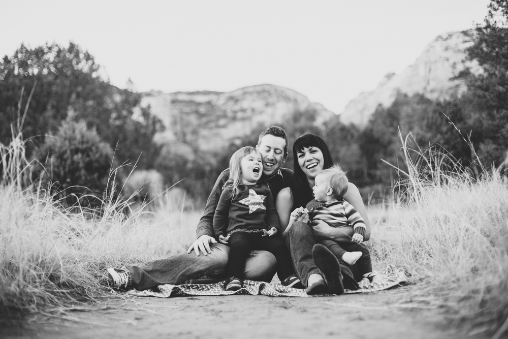 brall family laughing black and white sedona