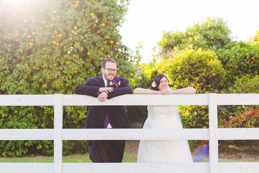 awesome lens flare with bride and groom on fence sd