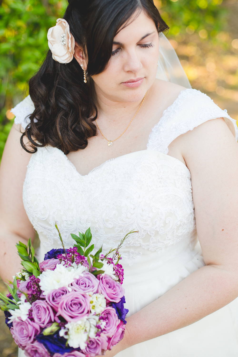 bridal portrait with bouquet sd
