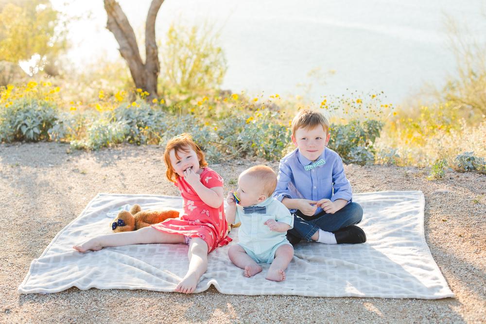 kids having out on blanket turner