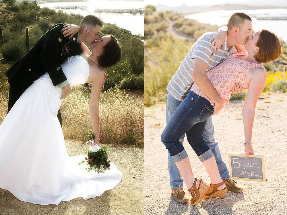awesome shot of married couple recreating wedding photo turner