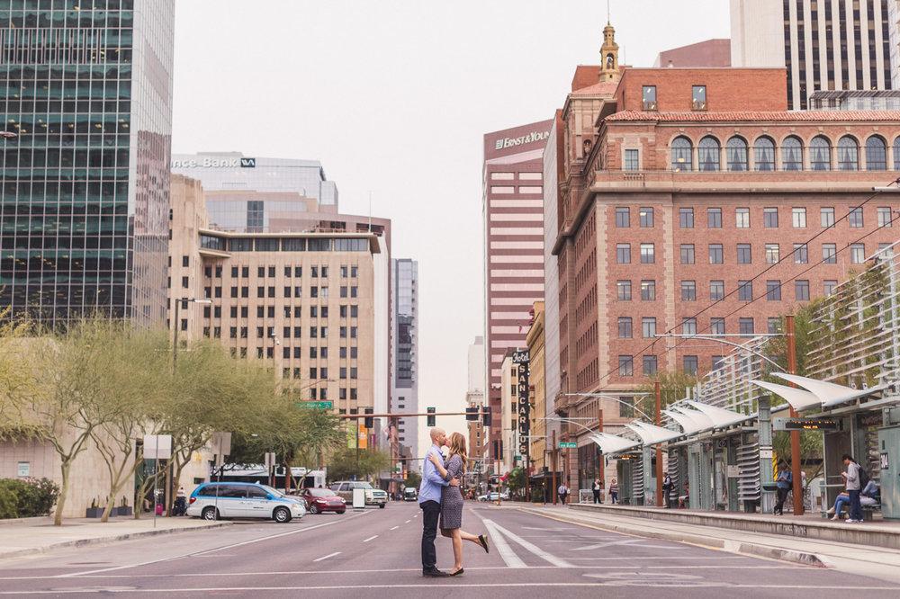 downtown-phoenix-street-kiss-engagement-photo