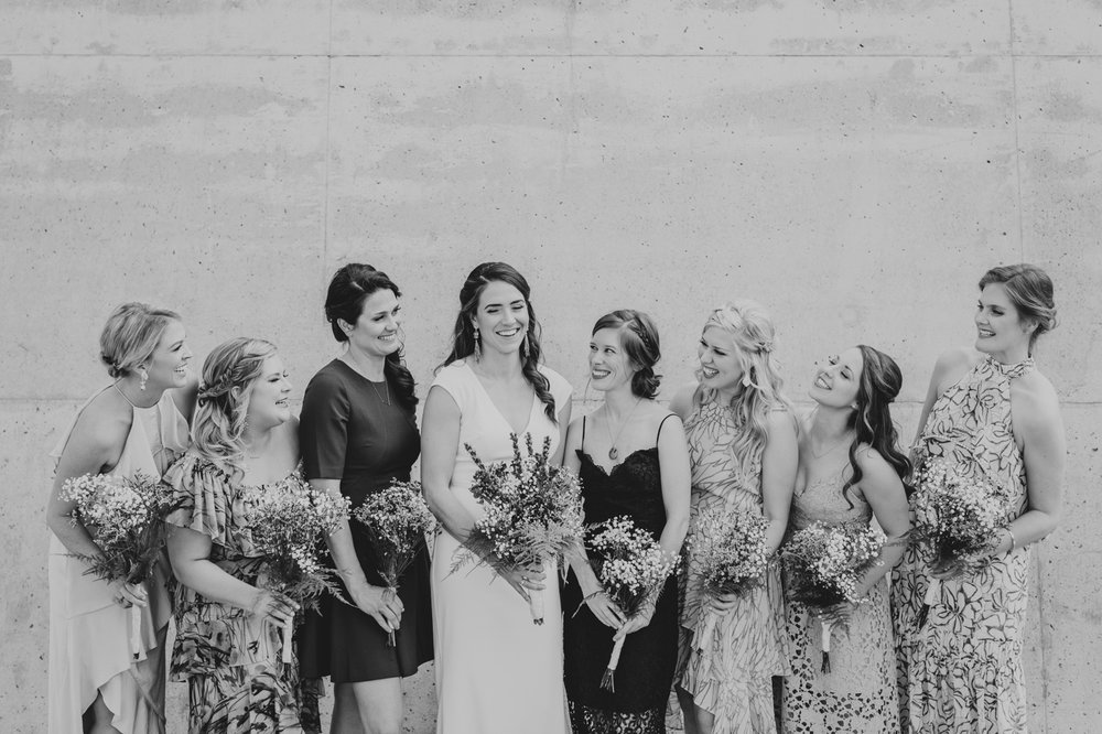 bride-and-bridesmaids-black-and-white-candid