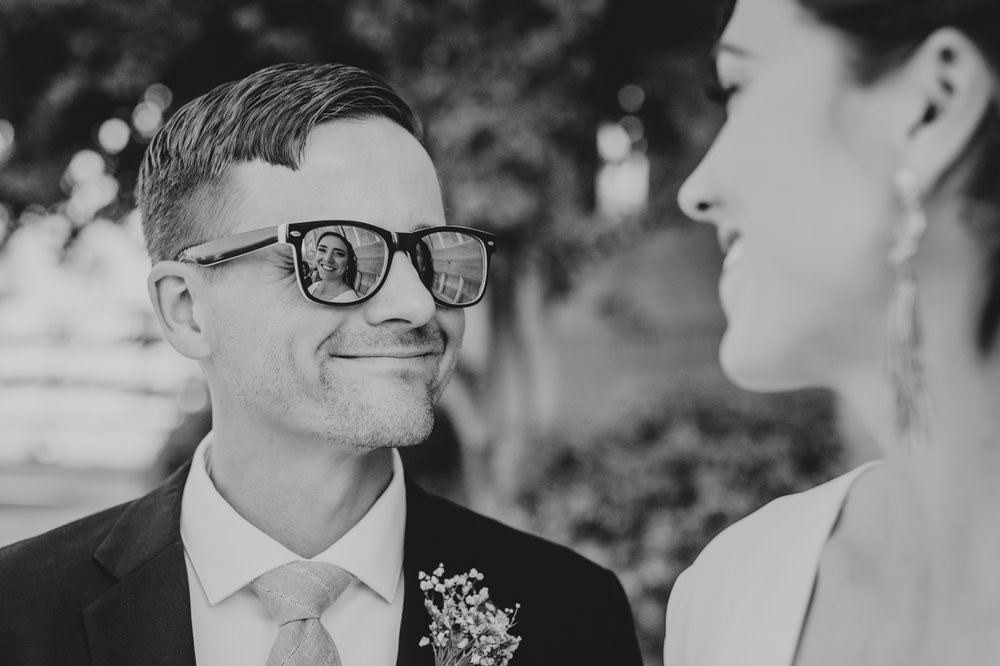 bride-reflected-in-grooms-sunglasses