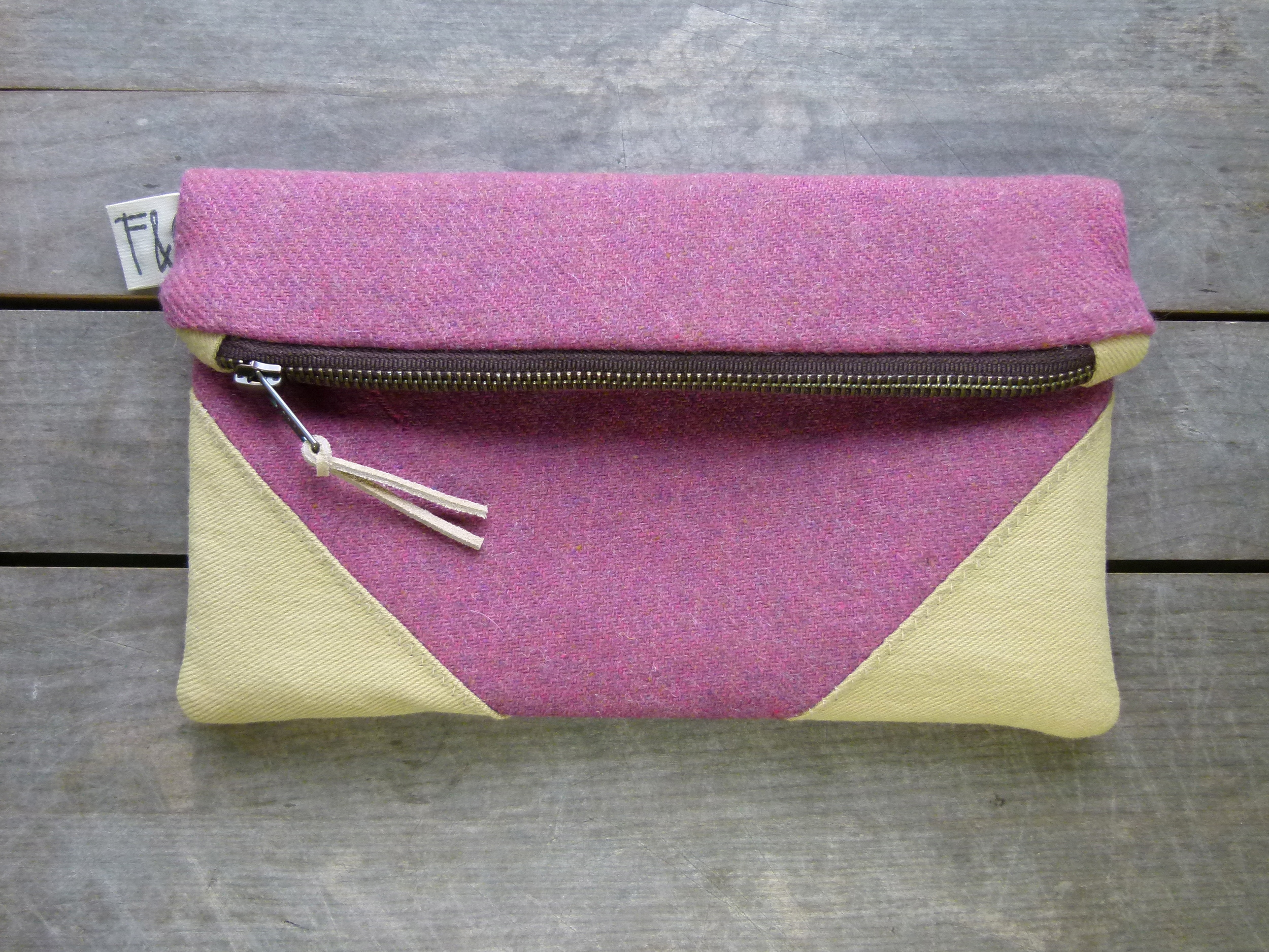 plum wool clutch
