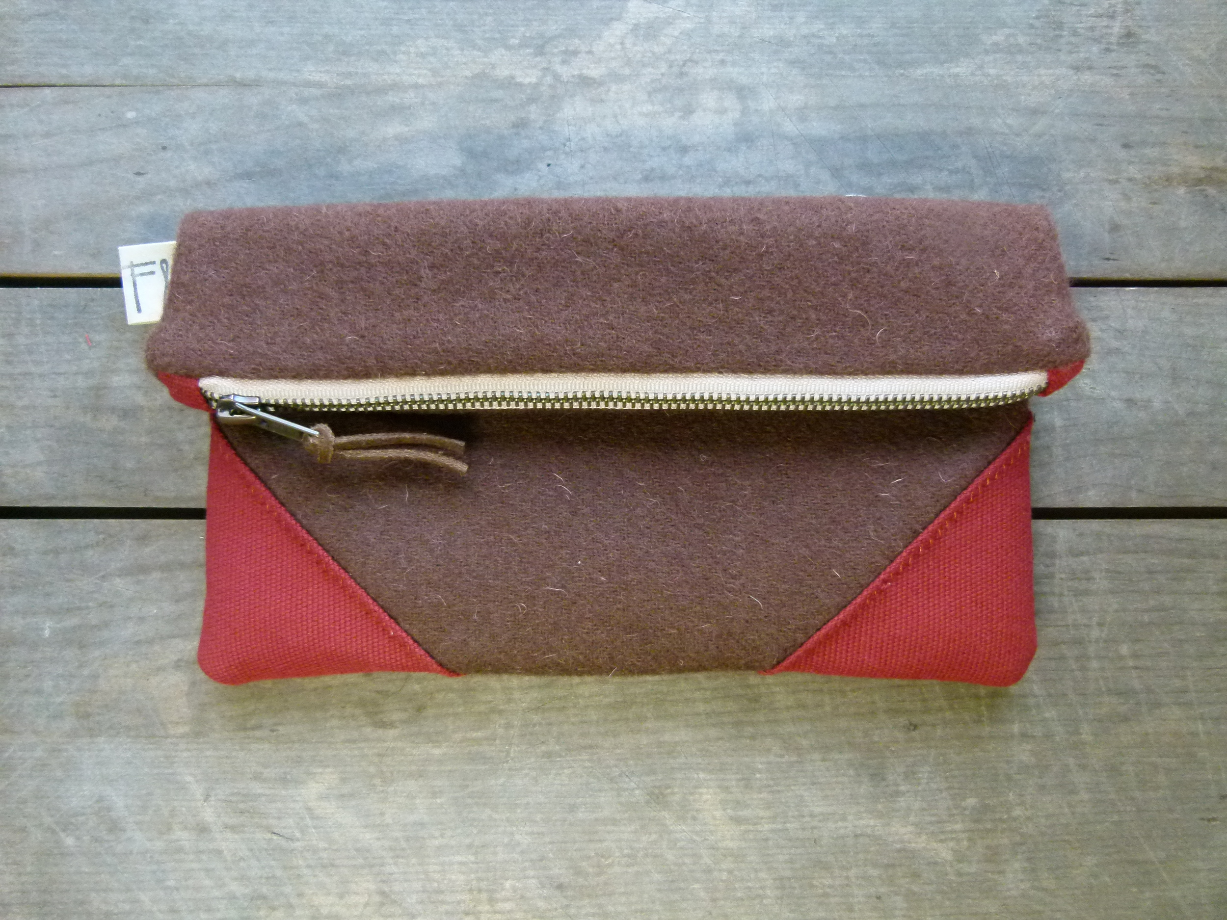brown wool clutch