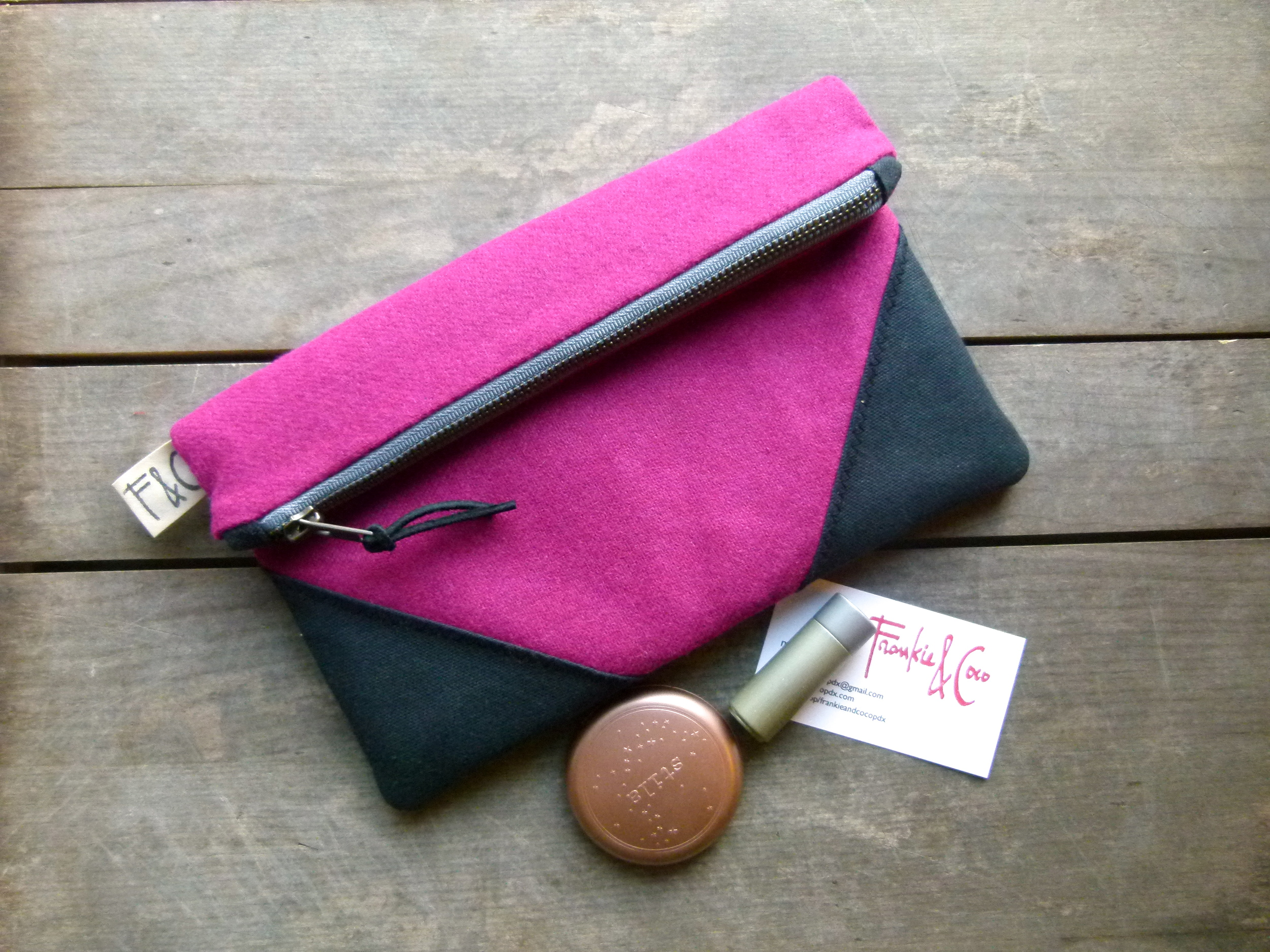 fuchsia wool clutch
