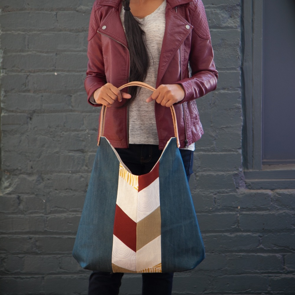 Denim Chevron NW Tote