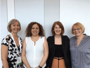 Researchers from left: Dr Marie Boden (UQ), Dr Therese Keane (SUT), Ms Monica Williams (AISSA) and Dr Christina Chalmers (QUT) shared the findings of the first year of the 2015-2017 Humanoid Robot Research Project at the Australian Council for Computers in Education Conference 2016.