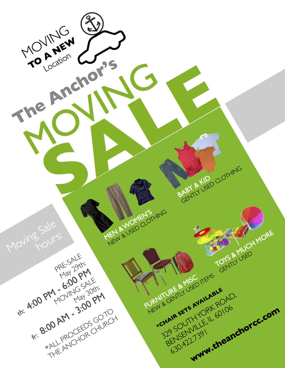 Moving Sale Flyer The Anchor Christian Church in Bensenville, IL