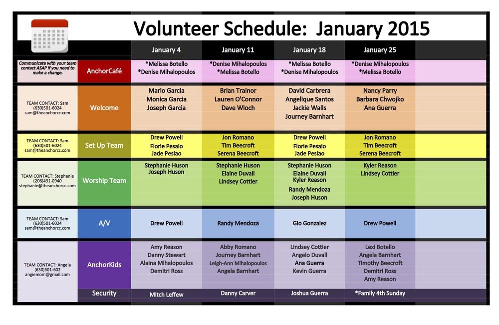 Anchor Volunteer Schedule January 2015