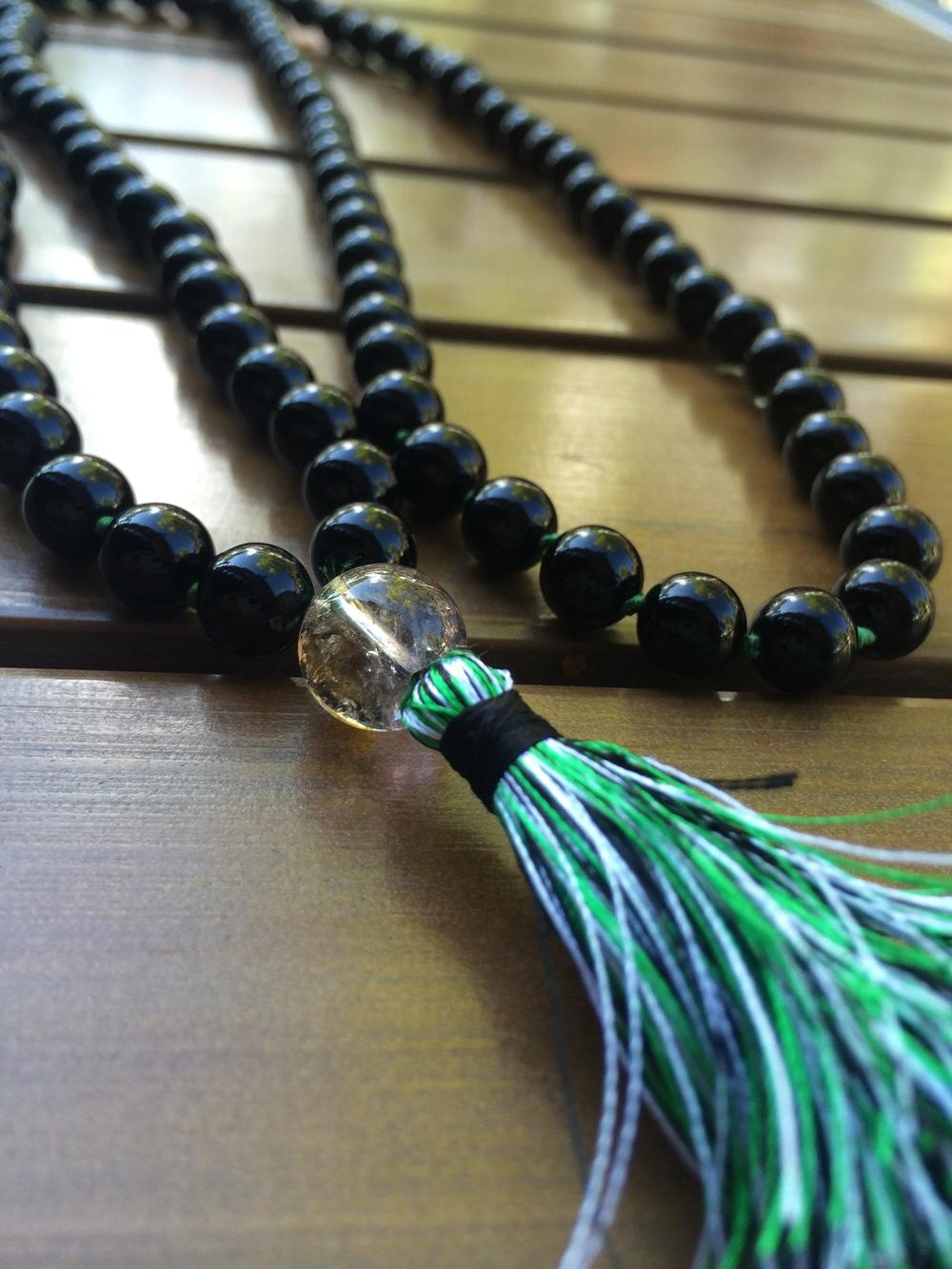 Black Onyx Mala ~ grounded in the Heart  Ametrine guru bead