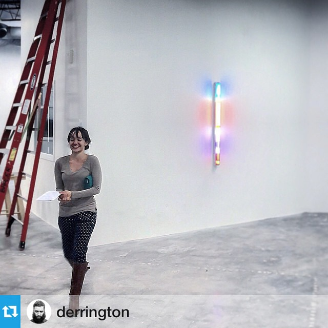 Repost from @derrington.  Getting all setup for next two weekends of #eastsidestudiotour at Cement Loop. Stop by to check out more featured artists from around town. Click on the location to find us! #atx #studio #art #lightinstallation