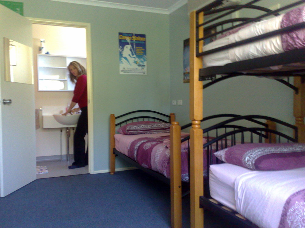 Each room has one single bed two bunk beds and its own bathroom.