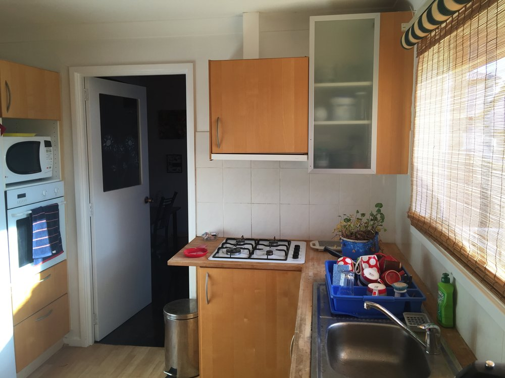 Gas stove, wall oven, dishwasher.