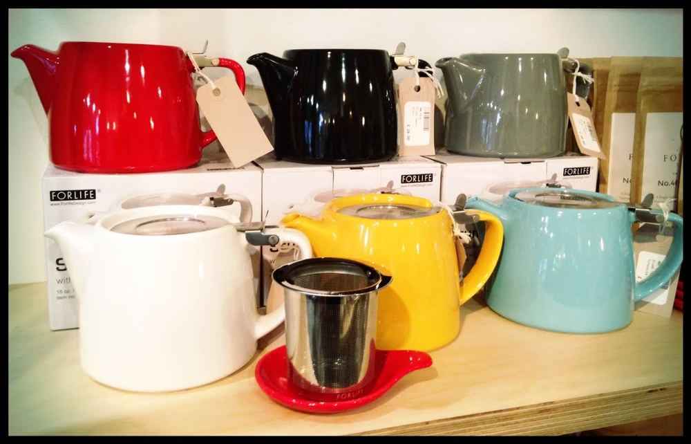 ForLife Stump Teapots in Red, Black, Grey, White, Mandarin & Turquoise.
