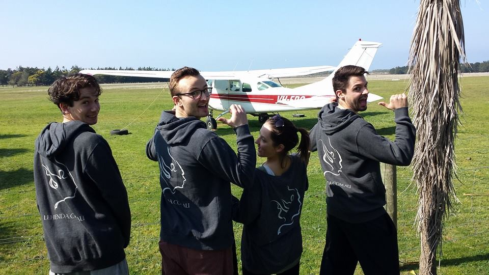 Jeremy, Daniel, Lydia and Michael after sky diving!