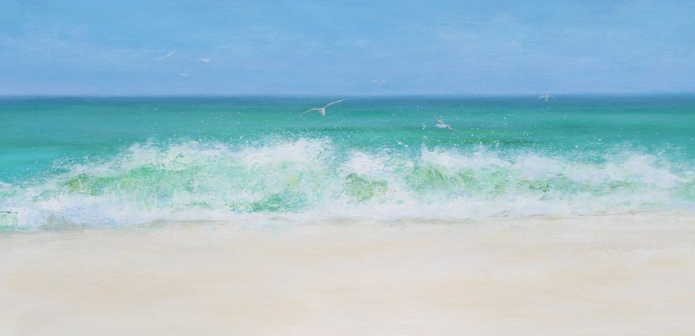 Customer Feedback:    'Dave and I couldn't be happier than to own an original seascape painting 'Emerald Seas' commissioned from Linda .     Painted to perfection of our favourite place, Destin, FL, USA.  Plan to commission future paintings to add to our collection.'  Dave & Sheryl H, USA.
