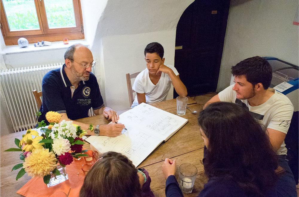 Anhand von Skizzen briefen wir die Models (Foto: Urs Tillmanns)