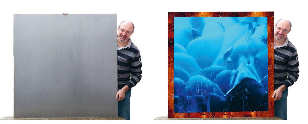 Diese Bildmontage visualisiert die Idee: Aus der rohen Stahlplatte soll in Island eine verwitterter Rahmen entstehen. Parallel dazu möchten wir Fotos realisieren, die dann auf diese Platte montiert werden. Bild und Rahmen treten in einen Dialog miteinander und mit dem Betrachter (Fotos: Ursula Schäublin)
