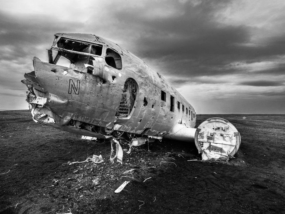Flugzeugwrack in Island, Fotograf: Peter Schäublin Schaffhausen