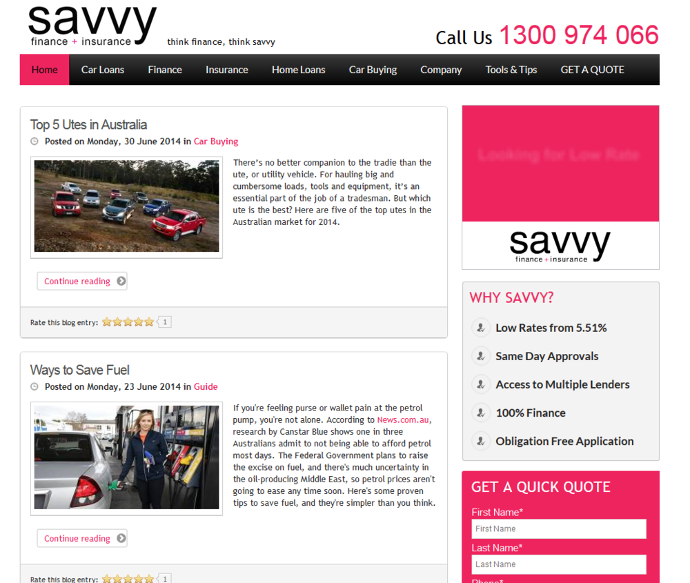 Savvy Finance + Insurance provides the best value loans delivered by the latest in technology.