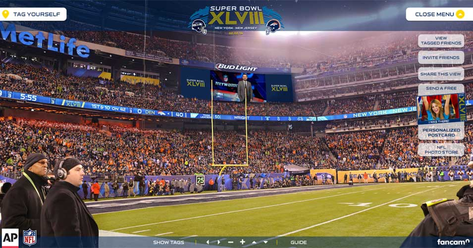 As a bit of background: My company, FanCam, captures super-high-res 360 degree images  of cities and stadiums that are so detailed that people can go and find a picture of themselves and tag it on Facebook. This is a screen-capture of a SuperBowl FanCam.
