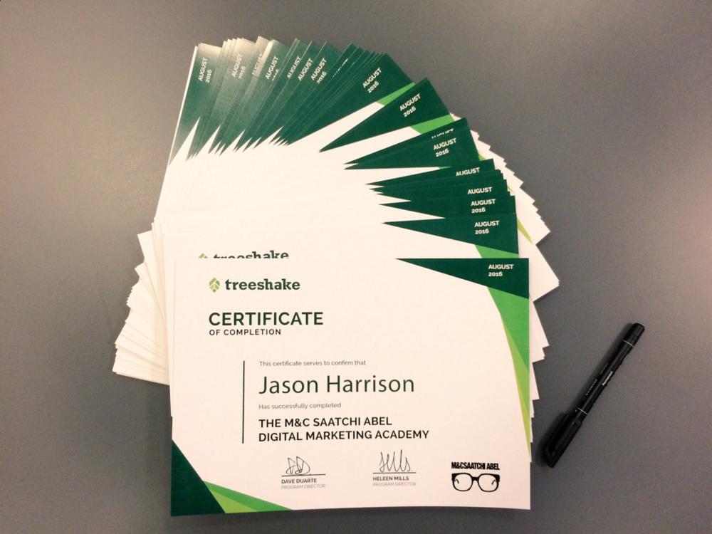 Treeshake Certificates