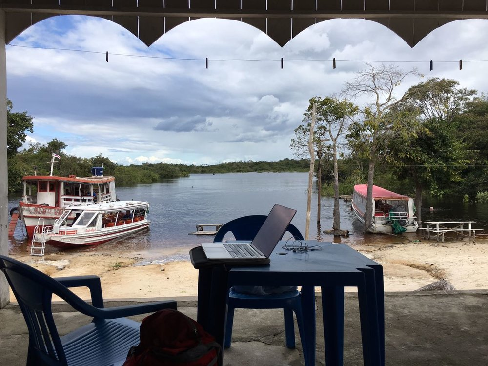 Mobile office in the Amazon.