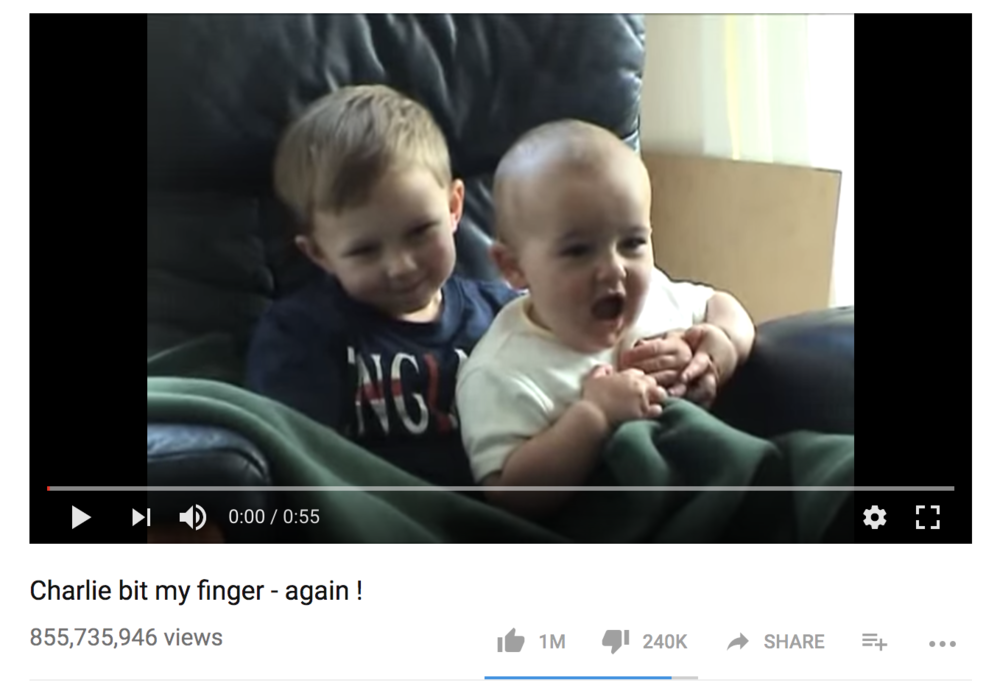 "Why do seemingly inane videos like ""Charlie Bit My Finger"" have SO MANY views? It's the Matthew Effect in action."