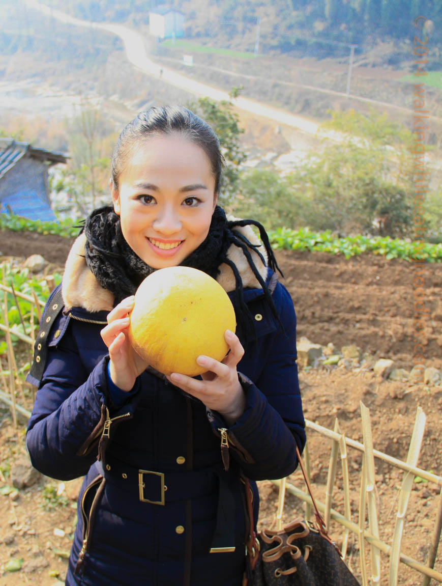 Wang Jing and a Pomelo