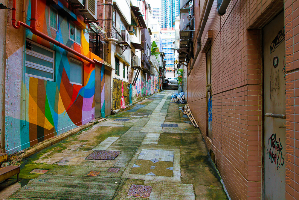 Graffiti-ed alley just off of Hollywood Road, HK.