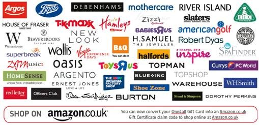 UK retailers supported from the Embedded Payments™ gift card