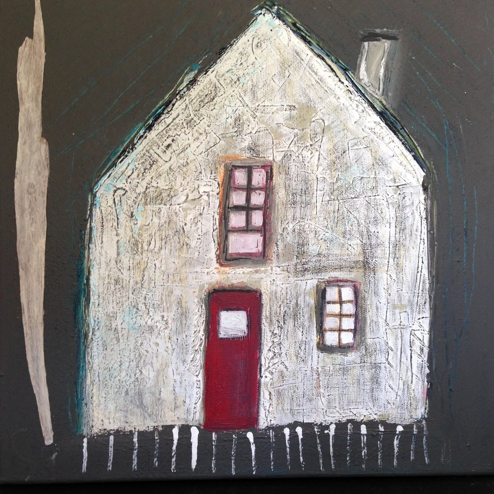 she built her own house   40 x 40 mixed media collage on 4 cm wrapped gallery canvass.  200.00 euro plus shipping