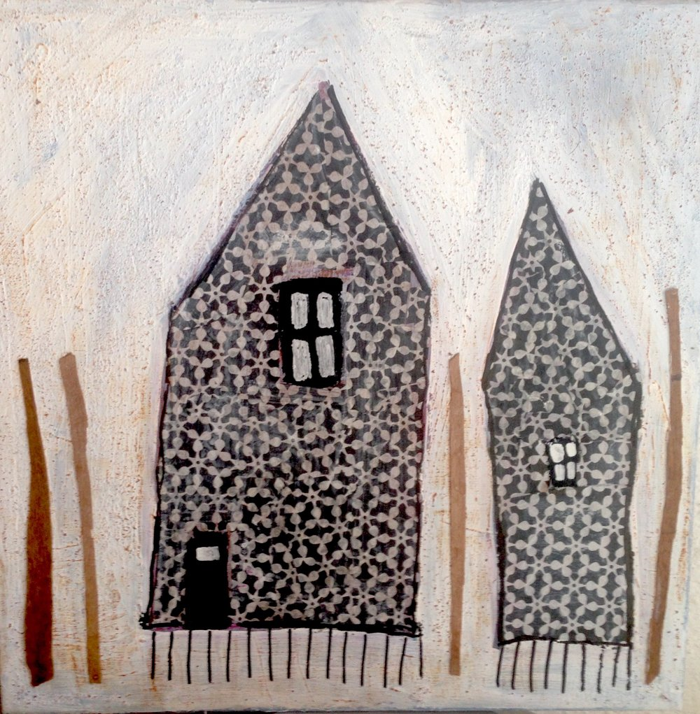 houses in the woods - sold 40 x 40 mixed media collage on 4 cm wrapped gallery canvass.
