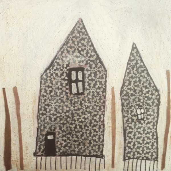 Two houses in the woods  40x40 cm mixed media collage on gallery canvass.  (Private Collector)