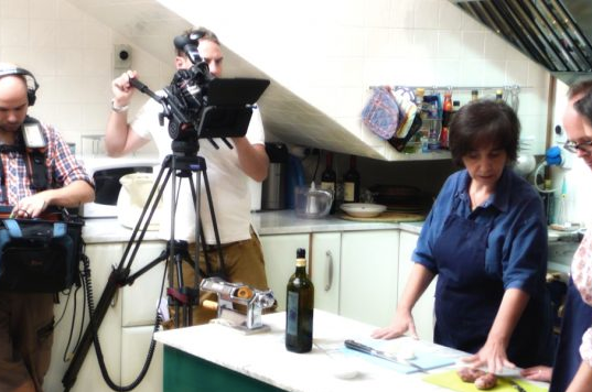 Letizia in her kitchen preparing for filming with the bbc.