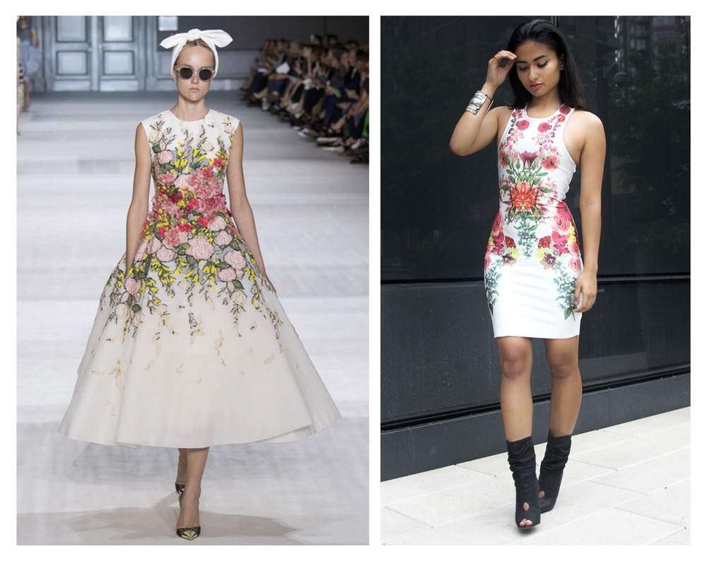 Giambattista Valli's collection was my personal favorite because it managed to be outré, elegant and laid back. Models walked out with scarves tied around their heads, minimal makeup and sunglasses letting each dress do the take center stage each playing with textures prints and shapes. Although I incorporated the statement, floral dress in my look the silhouette of my dress was body hugging with a sexy silhouette which wasn't what I was aiming for. So I remedied this prompted by keeping my hair slicked back and add a laid back pair of booties for a more balanced outfit. (Note: the booties would not work if my hair wasn't slicked back, don't attempt to do that to yourself unless you want to look tacky* ) *Oh Weird Al, we missed ya