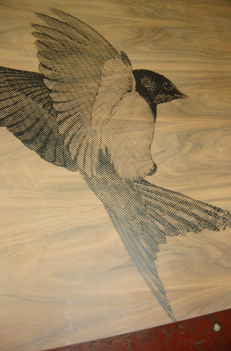 Bird design for a bespoke kitchen cabinet