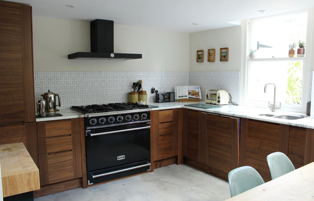 Walnut Kitchen and Polished concrete Floor