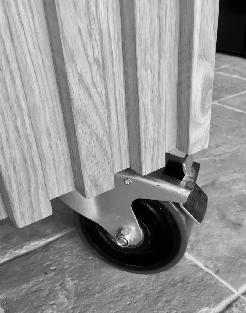 Movable kitchen island wheel detail