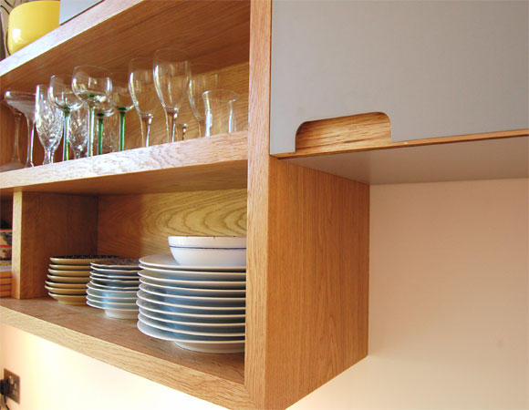 hand made kitchen storage shelves