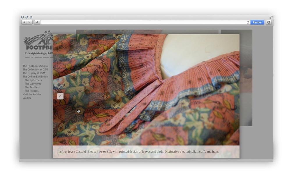 Footprints Studio online exhibition silk blouse lightbox