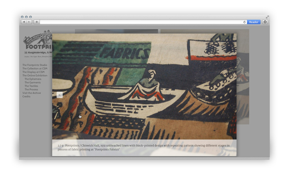 Footprints studio online exhibition textile lightbox