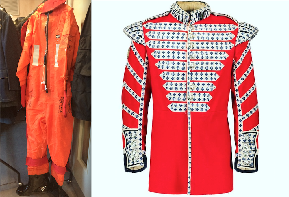 Image Left: Hwayan Immersion and Thermal Suit. ©whitelineprojects, 2017 Image Right: British Army Grenadier Guards Protective Ceremonial Drummers Tunic. C.1989s. Source: Westminster Menswear Archive Instagram