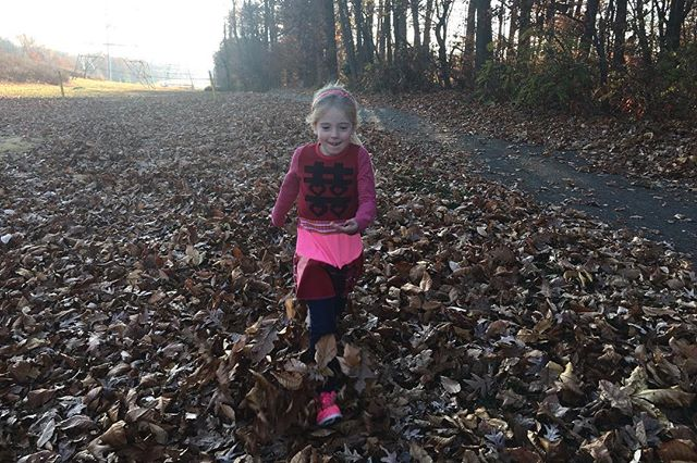 Happiness is... a leaf pile up to your waist! Sunshine from a few weeks ago to distract from today's dreary wet weather. #courtneycourtney